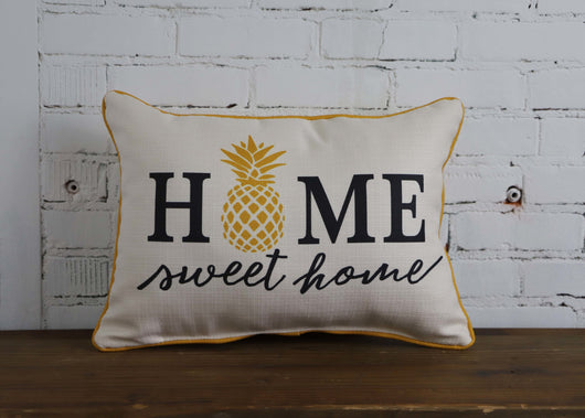 Home Sweet Home Pineapple Pillow - with mustard piping - Briddick Tile + Stone