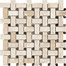 BASKETWEAVE ROYAL QUEEN BEIGE WITH EMPERADOR DOT BEIGE POLISHED MARBLE TILE - Briddick Tile + Stone