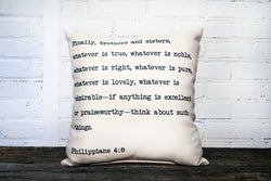 Phil 4:8 Pillow (2 week lead time) - Briddick Tile + Stone