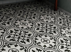 Black & White Fleur de Lis (Sold by the box) 9-3/4 in. x 9-3/4 in. Porcelain Floor and Wall Tile - Briddick Tile + Stone