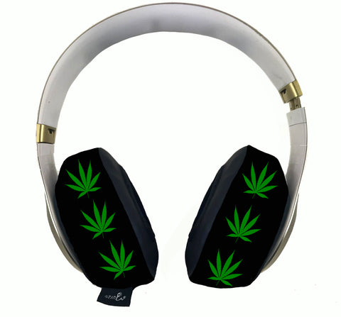 420 Green Leaf Black Headphone Covers