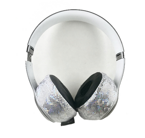 White Glitter Headphone Covers