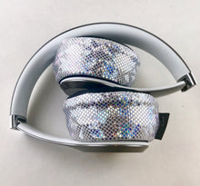 Load image into Gallery viewer, White Glitter Headphone Covers