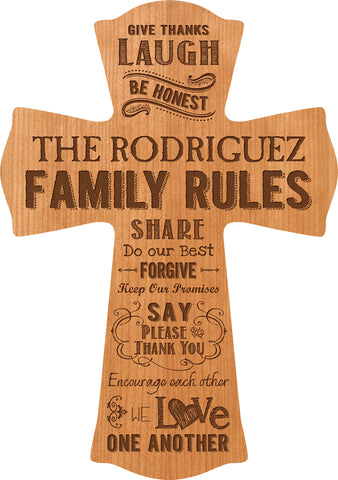 Family Rules Cross-Cherry Wood