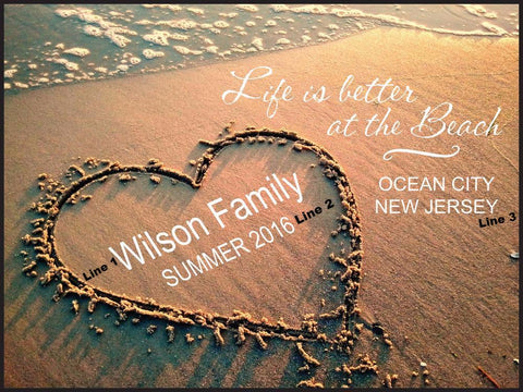 Heart Lithograph-Life is Better at The Beach
