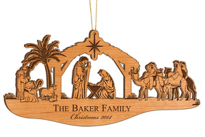 Nativity Wooden Ornament- Family Name & Year