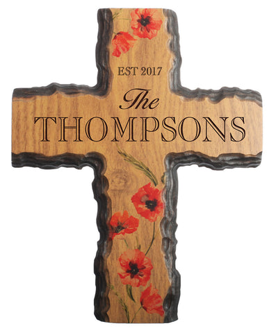Family Floral Bark Cross- Year and Family Name
