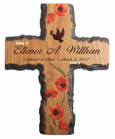 Confirmation Floral Bark Cross- Name & Date