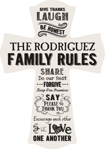 Family Rules Cross-White