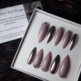 Taupe Chrome Crystal Swarovski Glue on Long Stiletto Fake Nails