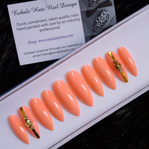 Coral Pink & Gold Swarovski Glue on Fake Nails