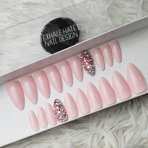 Sweetheart | Ready to Ship | Glue on Fake Nails | Full Set | Medium Length Almond