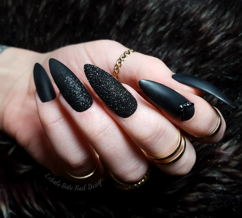 Matte Black x Glitter x Swarovski Glue on Fake Nails