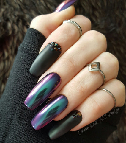 Alien Chrome Crystals Glue On Fake Nails Exhale Hate Nail Design