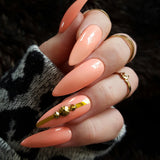 Coral Pink & Gold Swarovski | Glue on Fake Nails