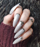 Grey with Light Gold Swarovski Crystal Long Stiletto Fake Glue on Nails