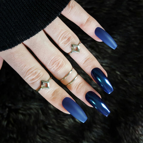 Navy Blue x Blue Chrome Glue on Fake Nails
