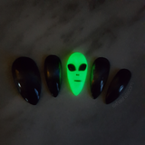 Glowing Alien Holo Galaxy Glue on Fake Nails