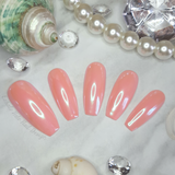 Starfish Shimmer Mermaid Fake Glue on Long Coffin Nails