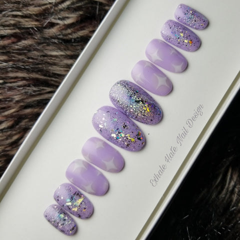 Lavender Kawaii Dreamland Glue on Fake Nails