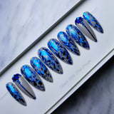 Capri Blue Tides Swarovski | Ready to Ship | Size Extra Small | Long Stiletto