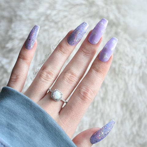 Lavender Kawaii Glue on Fake Nails