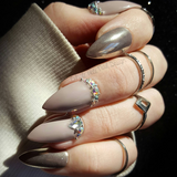 Taupe Chrome Crystal Swarovski Glue on Stiletto Fake Nails