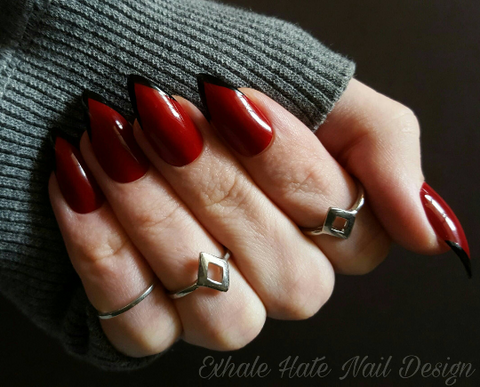 Red & Black Deep V French Tip Glue on Fake Nails