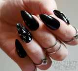 Black with White Crosses Glue on Fake Nails