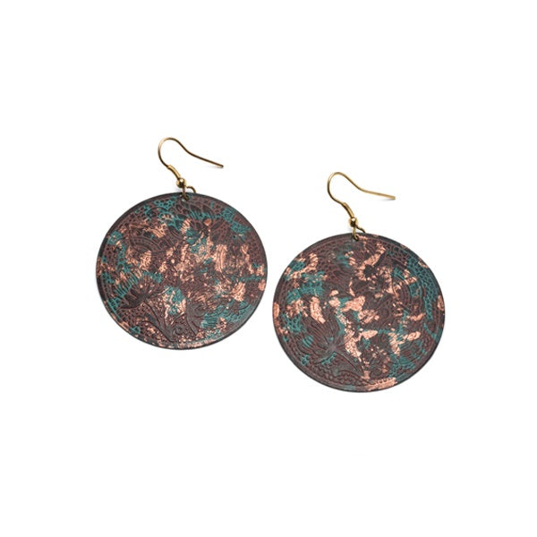 Bold, floral and vine disk earrings with a copper and dark teal patina finish for a look evocative of an ancient Indian garden.
