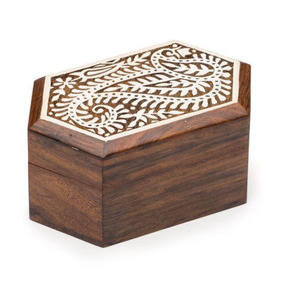 Small box intricately carved with paisleys from sustainably sourced Indian Rosewood and hand painted with a lovely white finish
