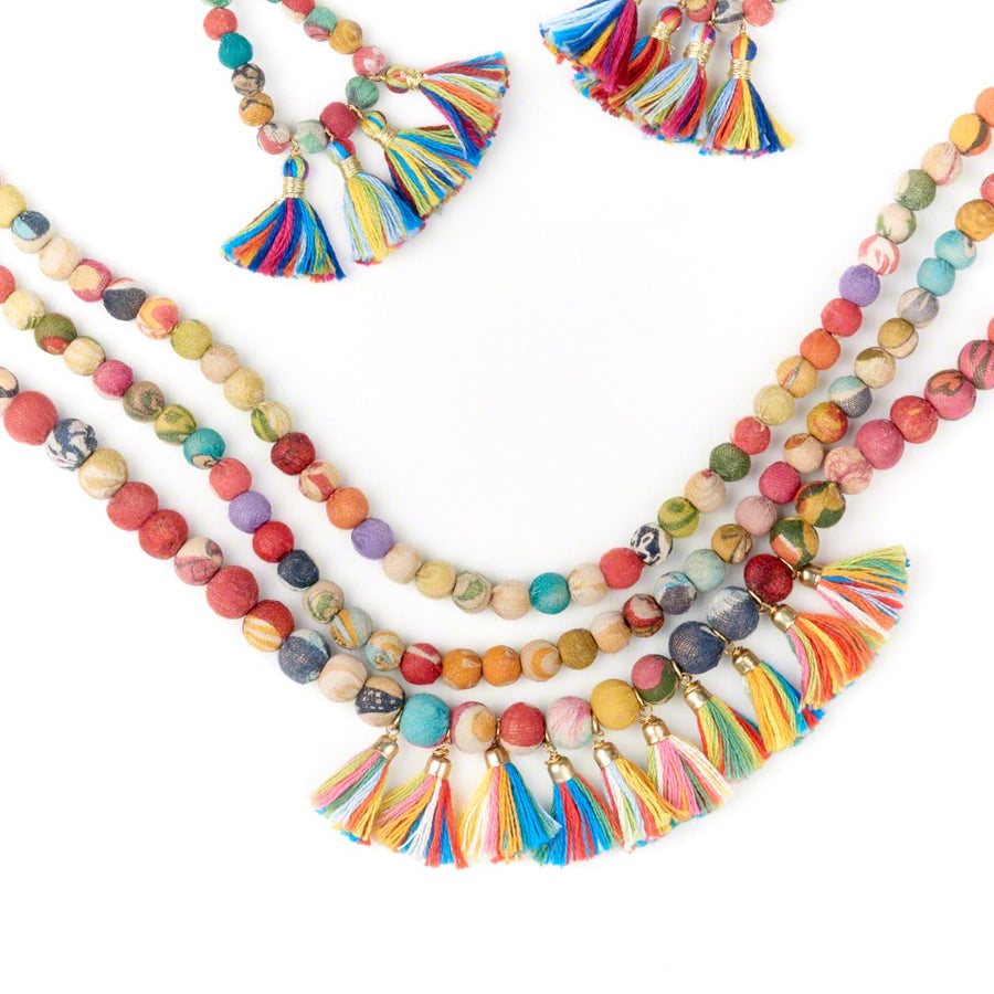 Kantha Triple Layer Fringe Necklace
