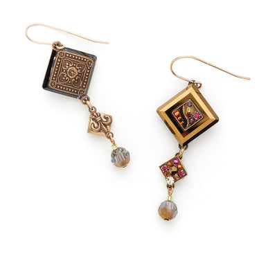 Crystal Diagonal Earrings With Dangle, Smokey Topaz