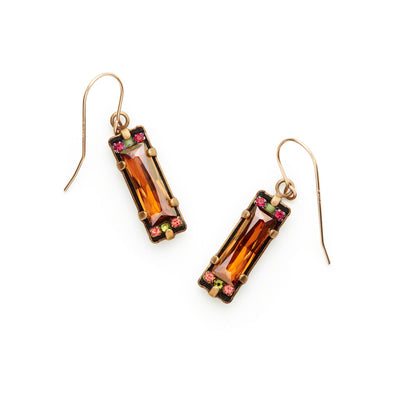 Crystal Earrings, Smokey Topaz