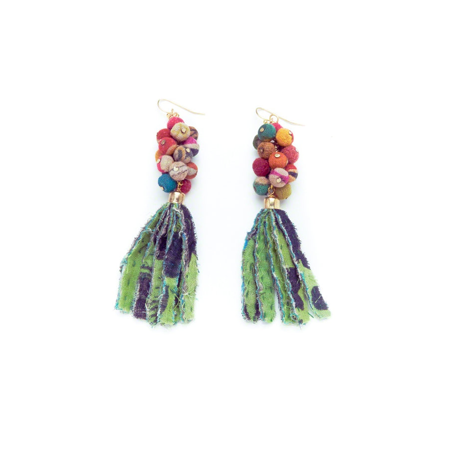 Kantha Cluster Fringe Earrings