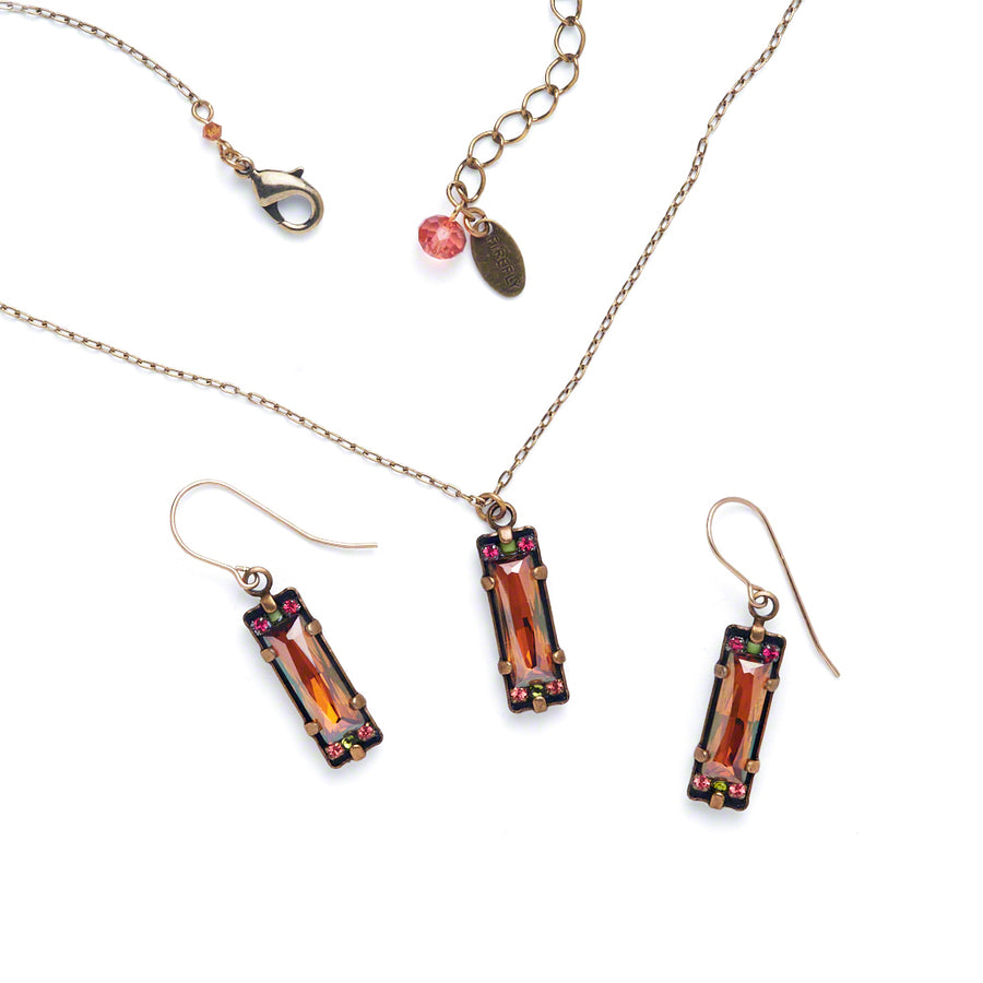 Crystal Pendent Necklace, Topaz