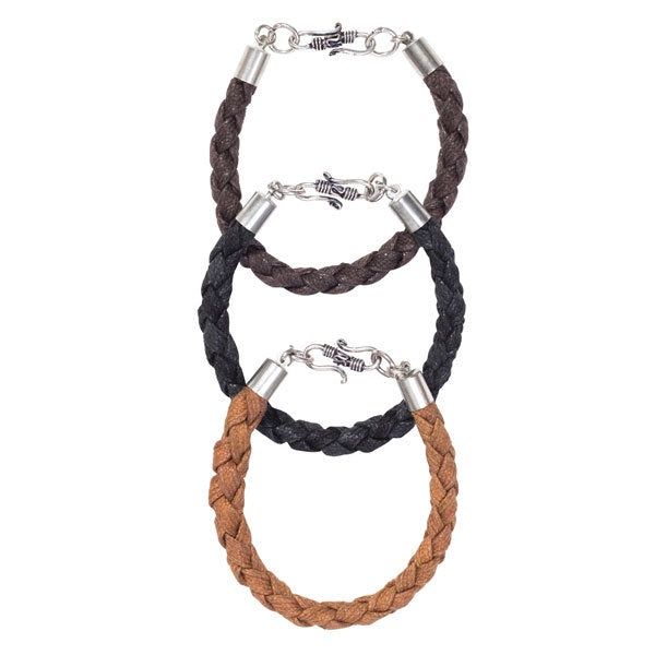 Make a statement of dignified strength with these rope and hook men's bracelets in black, brown and tan.