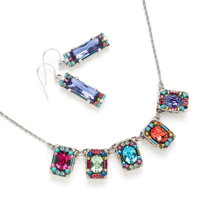 Petite Crystal Necklace, Multicolor