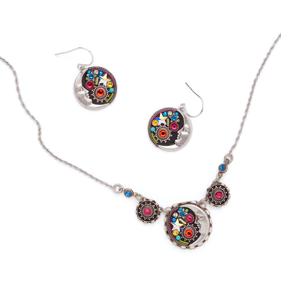 Midnight Moon Necklace, Multicolor