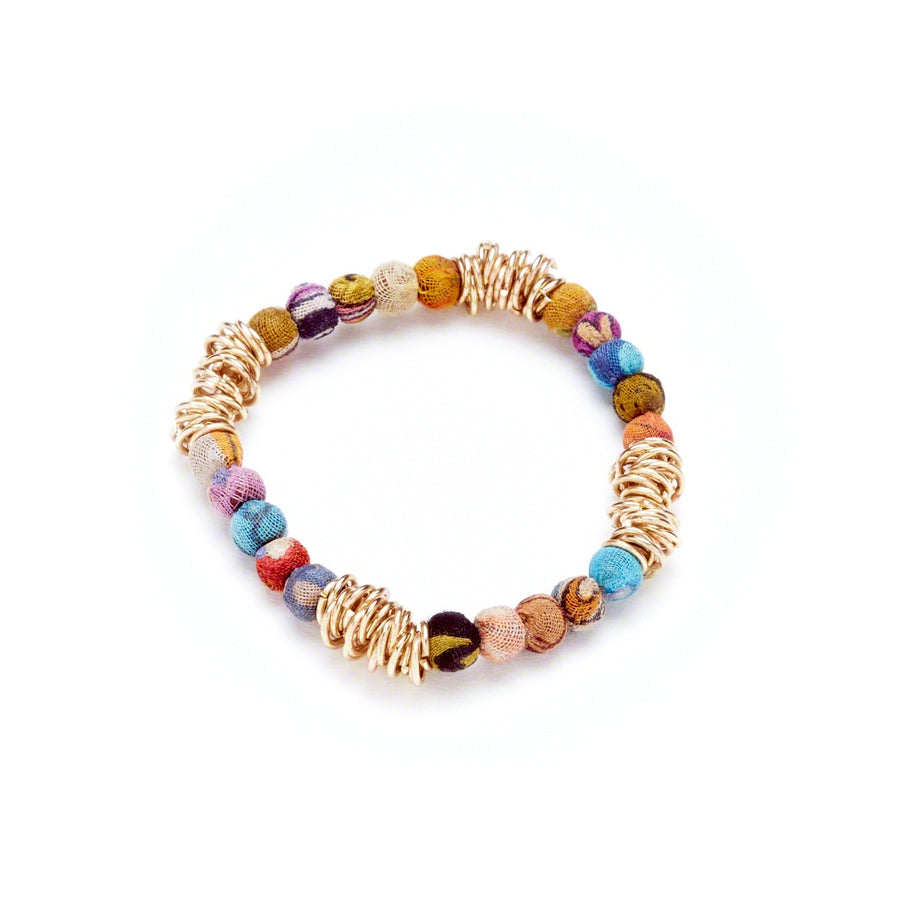 Ringed Loop Kantha Bracelet