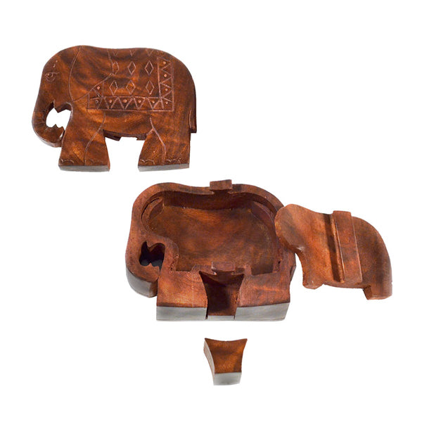 Ethically sourced puzzle box, hand carved from Indian Rosewood into an elephant shape. Includes a small storage/hiding space inside.
