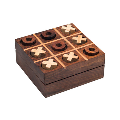 Travel-size, sustainably harvested Indian Rosewood Tic-Tac-Toe game.