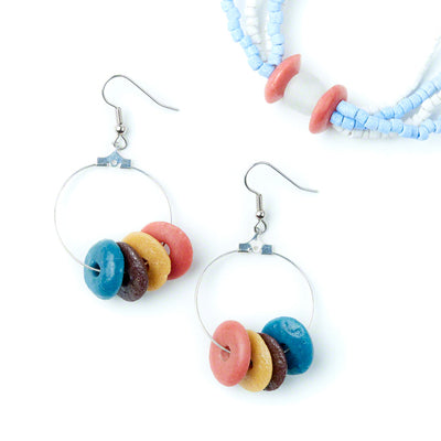Rainbow Elliptical Earrings with Desert Bloom bracelet