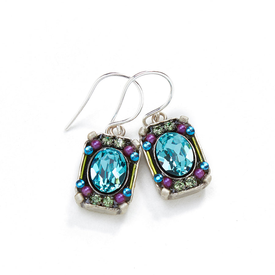 Petite Crystal Earrings, Light Turquoise