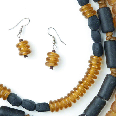 Amber Honey Earrings and Necklace