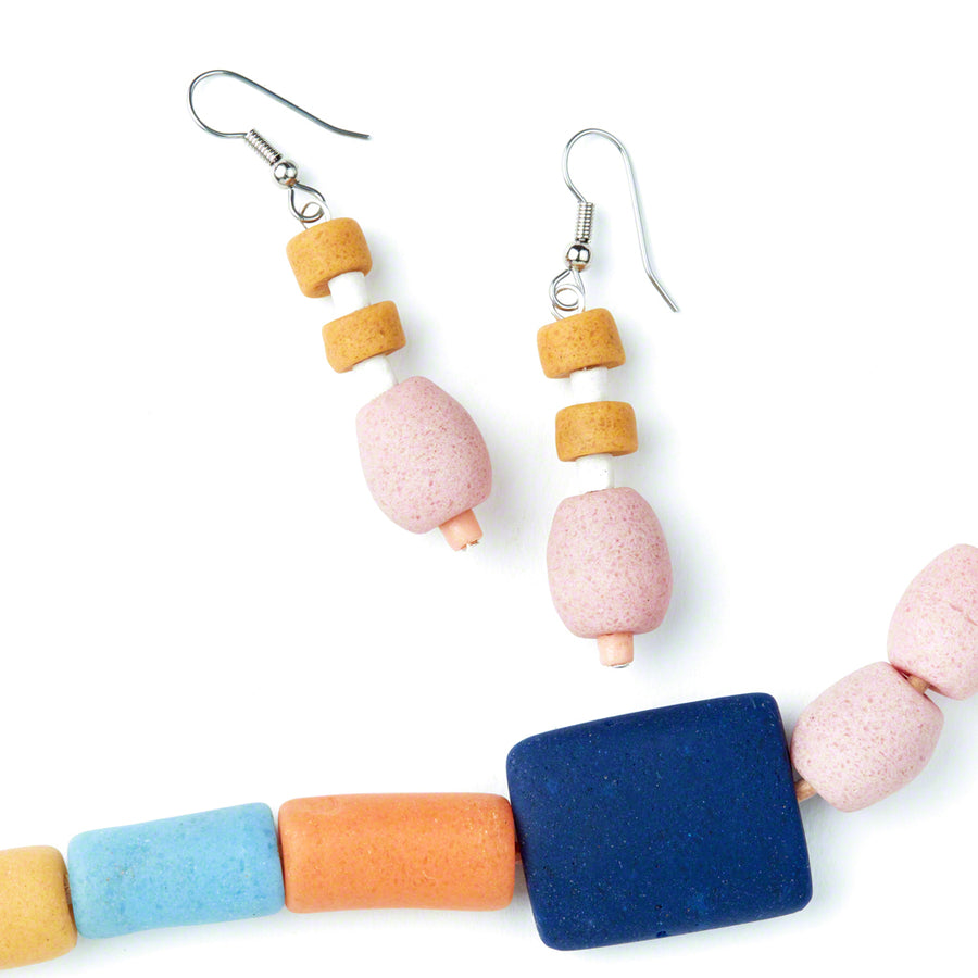 Rainbow Kalahari Earrings with pink, white and yellow glass beads.