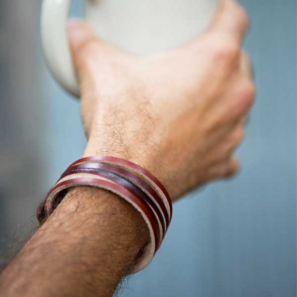 Leather bracelet handcrafted from bands of ethically sourced, vegetable tanned leather with sturdy snap closure.