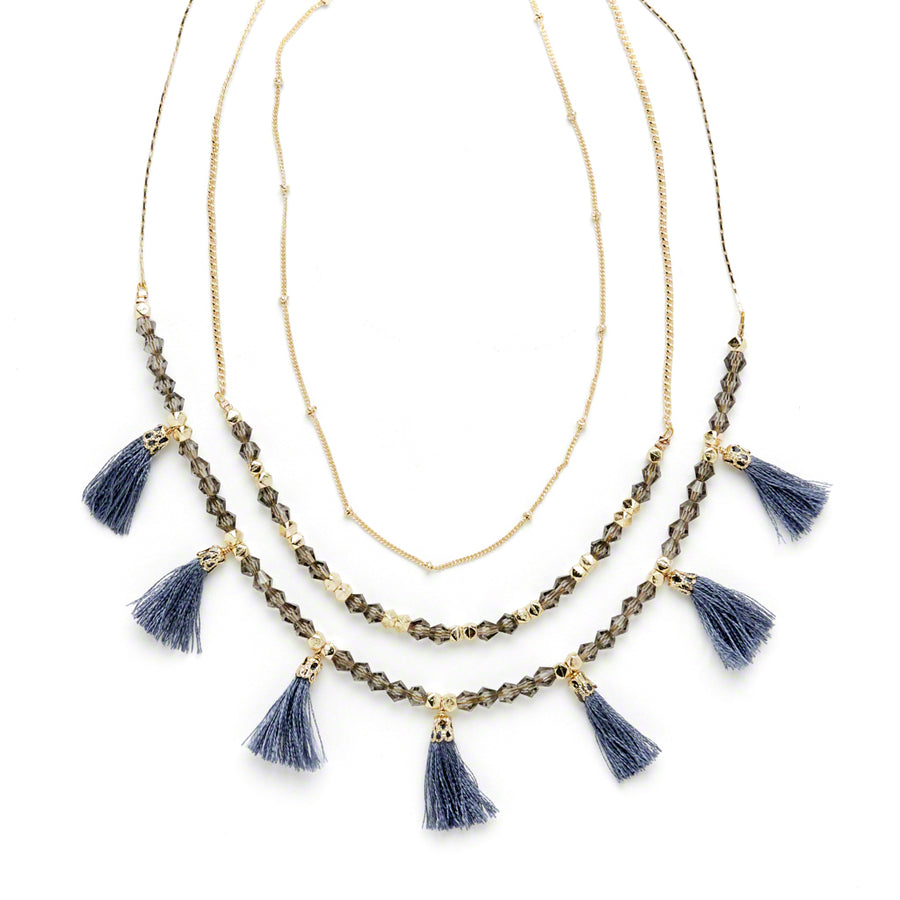 Layered Silver Tassel Necklace
