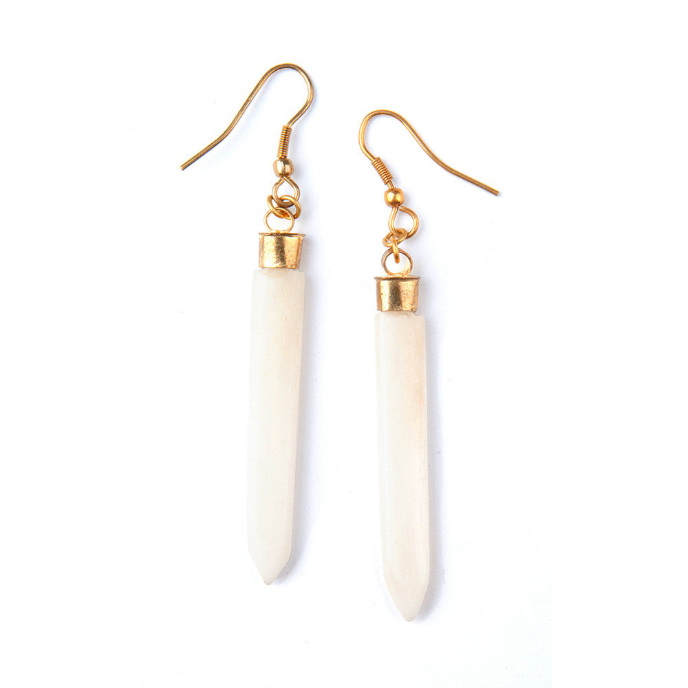 Cream Spike Earrings