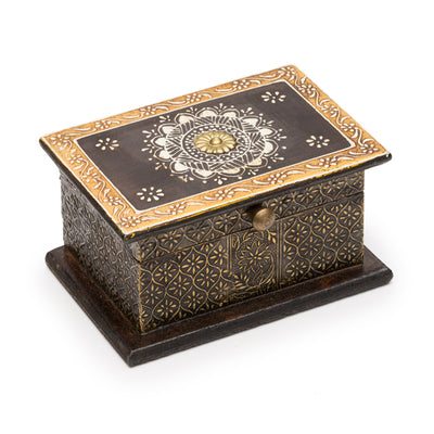 Gold and brown painted wooden box featuring a henna-like design on lid with antiqued embossed metal finish.